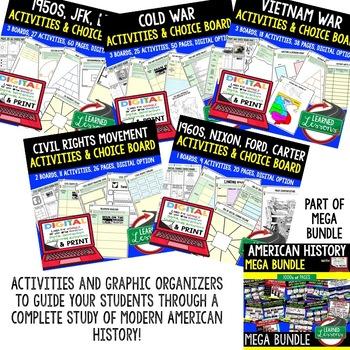 US History Activities Choice Board BUNDLE Paper & Google (US Bundle)