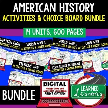 US History Choice Board Activity BUNDLE Paper & Google (Am
