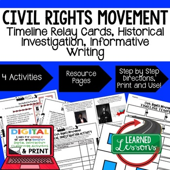 US History Civil Rights Movement Timeline & Writing (Paper and Google Drive)