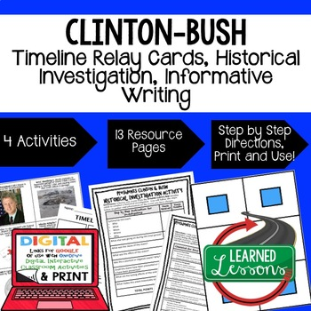 US History Clinton and Bush Timeline Relay & Writing with Google Link