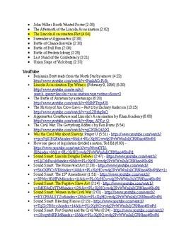 US History Clip List, Civil War - Reconstruction (1850-1877