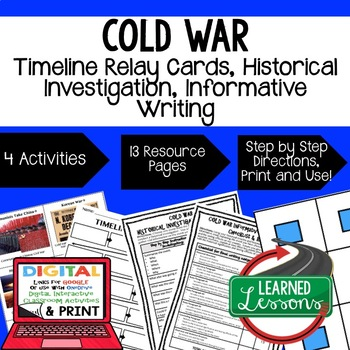 US History Cold War Timeline Relay & Writing Prompt with Google Drive Link