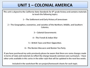 U.S. History - Colonial America Unit - Jamestown to the Boston Massacre