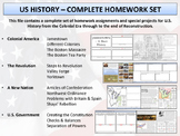 US History - Colonial America to Reconstruction - Homeworks