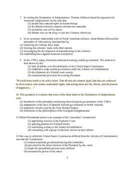 US History Regents Exam on Colonial Period through the Monroe Doctrine
