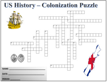 US History - Colonization Crossword Puzzle Activity Worksheet