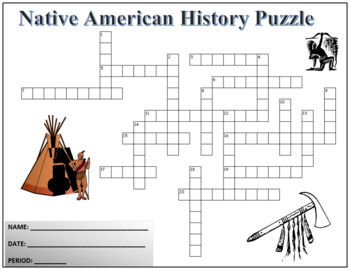 US History - Native Americans Crossword Puzzle Activity Worksheet