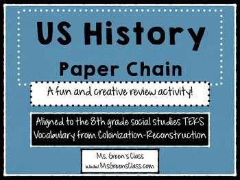 US History (Colonization-Reconstruction) Paper Chain Review Activity