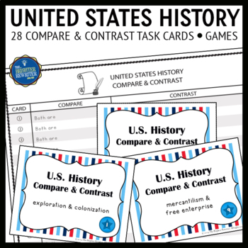 US History Compare and Contrast Task Cards and Games