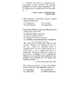 U.S. History - 11th Grade - Skills Quiz - Drawing Conclusions/Main Ideas (3/6)