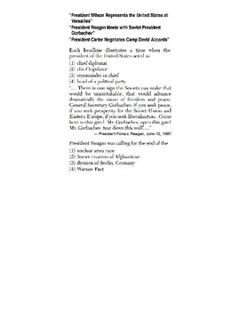 U.S. History - 11th Grade - Skills Quiz - Drawing Conclusions/Main Ideas (6/6)