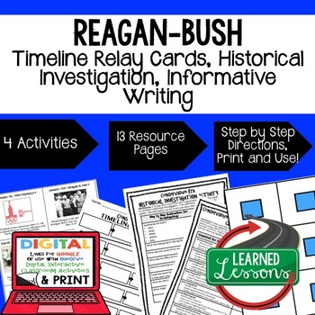 US History Conservative Era Timeline Relay & Writing with