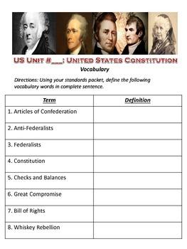 US History Constitution Vocabulary List