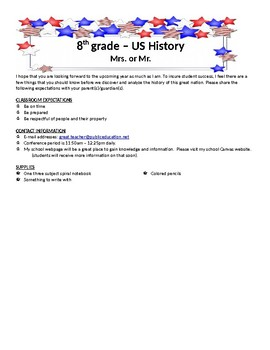 US History - Course Expectations and Syllabus