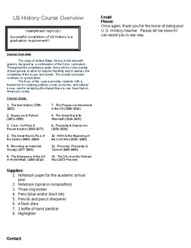 US History Course Overview Sheet