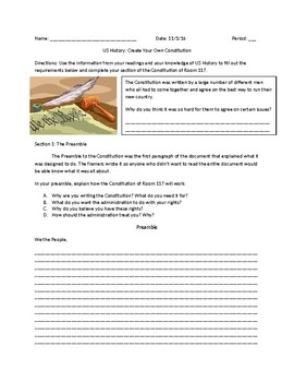 US History: Create Your Own Constitution