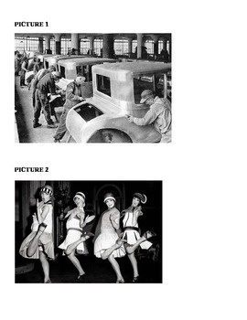 U.S. History- Create a Picture Caption- 1920's  In Class Activity
