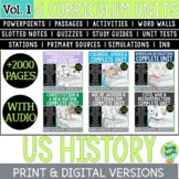 US History Curriculum Vol. 1, American History; Distance Learning; Digital