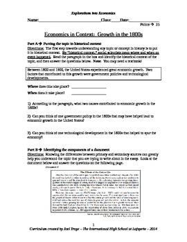 U.S. History DBQ Essay - Economics
