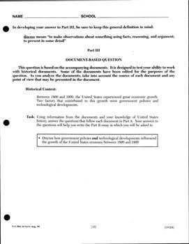 U.S. History DBQ Essay - Economics Packet