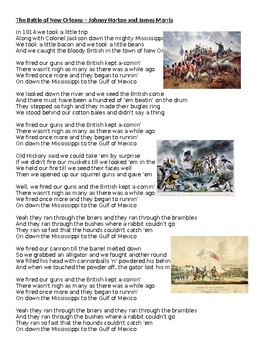US History DBQ - The Battle of New Orleans by Johnny Horton