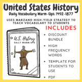 U.S. History Daily Vocabulary Warm-Ups: 1492-1877