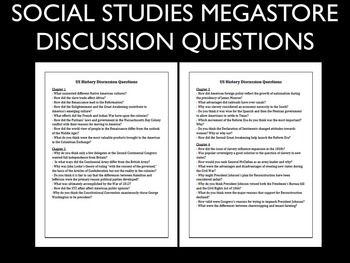 Discussion Questions First Semester US History