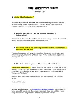 US History EOC - Final Review Packet - ANSWER KEY