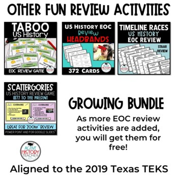 US History EOC Review Games GROWING BUNDLE Great for STAAR ...