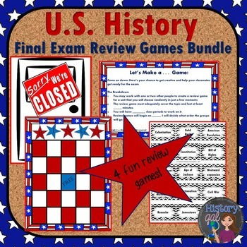 U.S. History Midterm and Final Exam Review Games Bundle