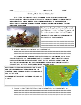 US History: Effects of the Revolutionary War