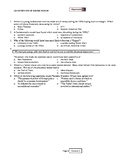 US History End of Course Review Test Prep 320 Multiple Choice, Key, Answer Sheet