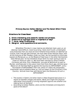US History:  English Colonies Primary Sources Packet