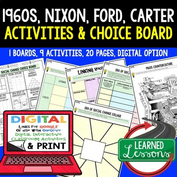 US History Era of Social Change 1960-75 Choice Board Activities with Google Link