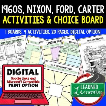 US History Era of Social Change 1960-75 Choice Board Activ