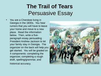 U.S. History Essay Organizer and Presentation, Trail of Tears - graphic