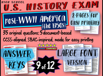 US History Exam: POST WWII (1945-1950s) - 35 Test Qs w/ answers (exam 9 of 12)