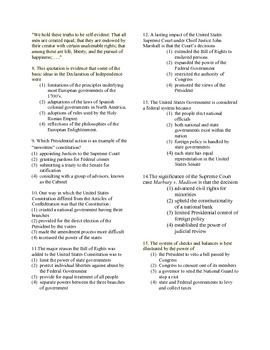 US History Regents Exam through Reconstruction Period