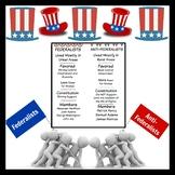 US History Federalists vs Anti-Federalists Bookmark, Poster, Chart