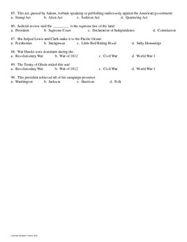 US History Final Exam Revolutionary War to Civil War