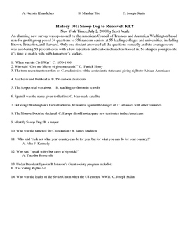 US History First Day Quiz