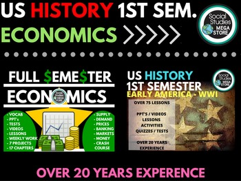 US History First Semester and Economics Full Semester Bundle