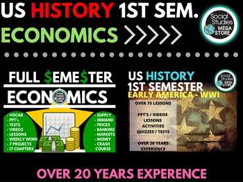 US History First Semester and Economics Full Semester Bundle
