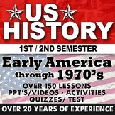 Complete US History Curriculum Early America to 1970's Bundle