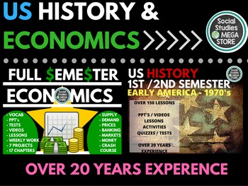 US History First and Second Semester and Economics Full Semester Bundle