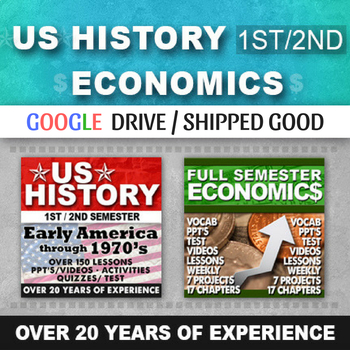 Complete US History Curriculum Early America to 1970 Economics Semester Bundle