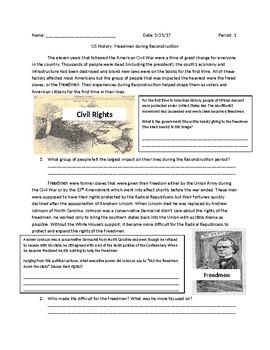 US History: Freedmen During Reconstruction