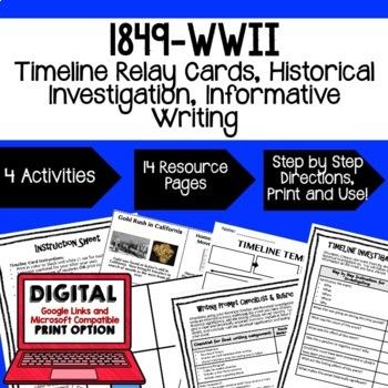 US History BUNDLE Timeline Relay & Writing with Google (American History Bundle)