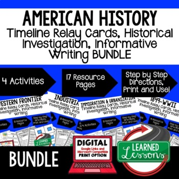 US History BUNDLE Timeline Relay & Writing with Google (Am
