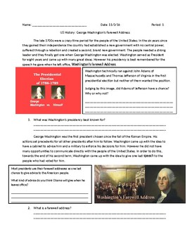 US History: George Washington's Farewell Address